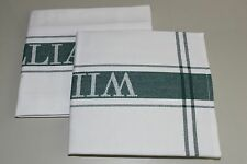NEW WILLIAMS SONOMA Set of 2 Classic Cotton White Green LOGO Towels
