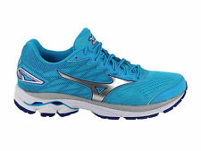NEW WOMENS MIZUNO WAVE RIDER 20 RUNNING SHOES BLUE ATOLL / SILVER / WHITE