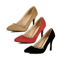 Ladies Pointy toe Suedette high heel court shoes with diamante chain
