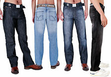New Mens Straight Regular Fit Classic Casual Smart Blue Denim Jeans All Waist