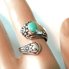 .925 Sterling Silver Flower SPOON RING  w/ Simulated TURQUOISE  Size 6-9