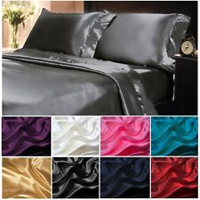 Soft Silky Satin Solid Color Deep Pocket Sheet Set 4 PIECE Luxury Satin Sheets