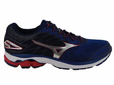 NEW MENS MIZUNO WAVE RIDER 20 RUNNING SHOES BLUE DEPTHS / SILVER / CHIN 2E-WIDE