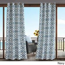 Indoor Outdoor Modern Navy White Scroll Filigree Grommet Curtain Panel Privacy