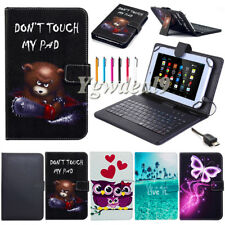 """US PU Leather Case Cover Micro USB Keyboard For 7"""" - 8"""" Tablet Android Windows"""