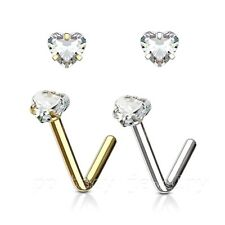 1PC  20g,18G 3mm Prong Set Heart CZ Stud IP 316L Surgical Steel L-Bend Nose Ring