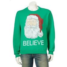 JERZEES Christmas Holiday SWEATSHIRT Mens Womens NWT Santa BELIEVE Sz L, XL