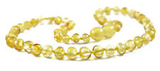 Genuine Baltic Amber Teething Necklace - Lemon Round Beads - Baby to Mom Size