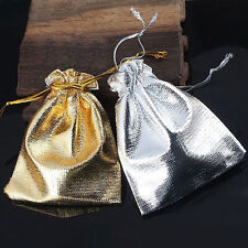 New 25/50/100 PCS Silver Gold Organza Bags Jewelry Gift Pouch Wedding Favors