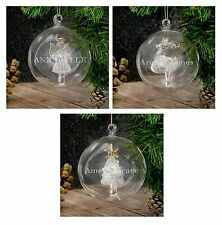 Personalised Engraved Name Glass Christmas Bauble Angel Reindeer Tree Decoration