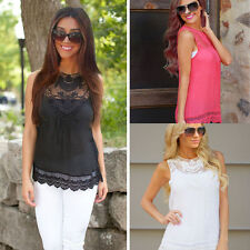 Fashion Women Summer Vest Top Sleeveless Blouse Casual Tank Tops T-Shirt Lace