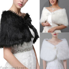 Fashion Lady Faux Fur Wedding Party Shawl Bolero Jacket Bridal Winter Wrap Stole
