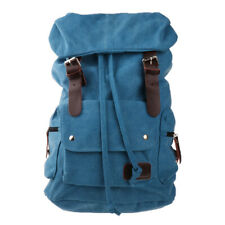 Canvas Vintage Backpack Leather Casual Bookbag Rucksack For Mens Womens