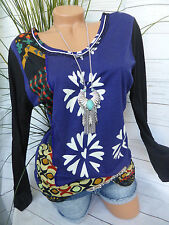 Desigual Top Tunic Blouse Size XL Sequin colorful patterned NEW (751)