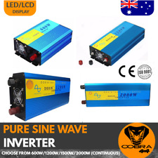 INVERTER PURE SINE WAVE CAR CARAVAN BOAT 4WD CAMPING 600 1200 1500 2000 WATT
