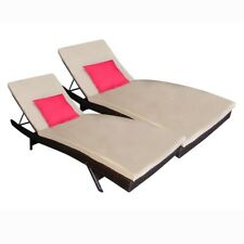 ALEKO Two Outdoor Patio Wicker Furniture Adjustable Lounge Chairs with Cushions