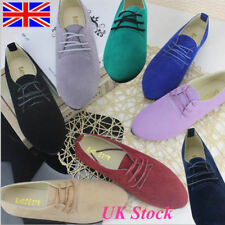 UK Size Women's Ladies Suede Lace Up Work Casual Comfort Shoes Girls Flat Pumps