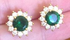 Diamond and Emerald Colour Crystal 18K Yellow Gold Cluster Stud Earrings 298