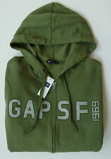 Mens GAP LOGO 1969 GREEN ZIP UP HOODIE SWEATSHIRT Sizes S, M, L, XL - NWT