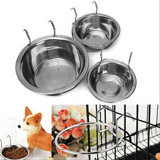 Stainless Steel Pet Dog Bowl Food Water Bowl Drinking Cage Cup Hanger Pet  Tools