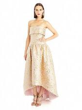$5990 NEW Oscar de la Renta Peony Gold Lurex Floral Matelasse High Low Gown  2 4