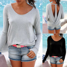 Woman Backless Loose Tee Crewneck Tee Long Sleeve Shirts Cotton Tshirt Tops NEW