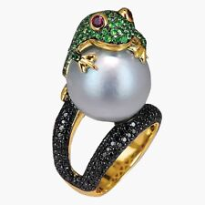 925 Silver Frog with Pearl Jewelry Engagement Gold Filled Wedding Ring Size 6-10