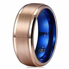 8MM Tungsten Wedding Ring for Men Rose Gold Plated Mens Wedding Band Engagement