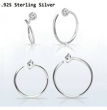 """1PC Spiral .925 Sterling Silver Nose Hoop Ring 22g 1/4"""", 5/16"""" 2mm Clear Crystal"""