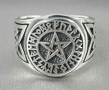 Celtic knot pentagram viking norse rune wiccan pagan star 925 silver ring 9-12