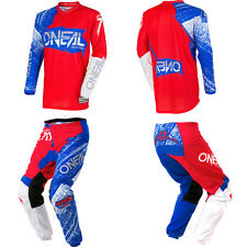 ONeal Element Burnout Blue Red dirt bike MX gear - Jersey Pants Kids/Youth Combo