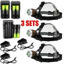 3X 30000Lumens XML-T6 LED Headlamp Rechargeable Torch Lamp+Charger+18650BTY USA