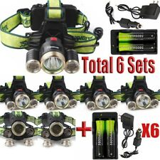 6SETS Tactical 40000Lumens XML-T6 LED Headlamp Torch Lamp+18650+Charger USA