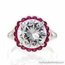 5 CARAT ROUND FAUX GEMSTONE HALO STERLING SILVER ENGAGEMENT RING