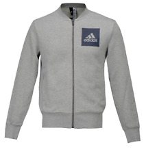 Adidas Men ESS Bomber Top Jackets Grey Running Full-zip L/S Jacket GYM BS2216