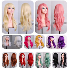 Womens Ladies Long Wavy Curly Wig Multi Color Synthetic Cosplay Party Full Wig