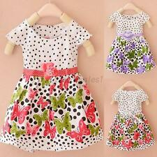 2-4Y Kids Baby Girls Cotton Dress Cute Polk Dots Butterfly Skirt Toddler Clothes