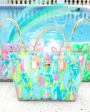 New Lilly Pulitzer BREEZY TOTE Clear PVC Pool BEACH Sailboat 2 BAGS in ONE Bag