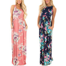 Women's Floral Sleeveless Dress Evening Party Cocktail Maxi Dresses
