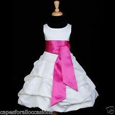 NEW WHITE BUBBLE PICK UP FLOWER GIRL DRESS COMMUNION WEDDING 2 4 6 8 10 12 14 16