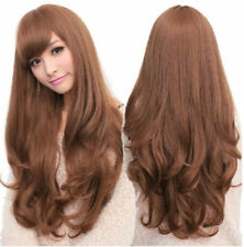 New Fashion Women Brown Synthetic Long Curly Wavy Hair Party Cosplay Full Wig