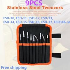 9Pcs ESD Stainless Steel Tweezers Kit Precision Anti-static Repairing Tools EA