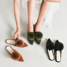 New Chic WOmens Faux Fur Slip On Mules Sandals SHoes Summer Flat Heel Muller Hot
