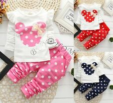 New cotton 2pcs baby Girls tops+pants Outfits & set Polka Dot kids clothing suit