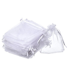 Organza Gift Bags Mudder White Color Pack of 50 Piece 4 x 4.72 Inches Drawstring