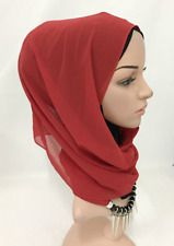 Muslim Women Solid Color Chiffon Shawl Headband Hijab Turban Necklace Scarf Wrap