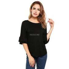 Women Casual Ruffle Sleeve Round Hemline O Neck Solid Loose Pullover hfor