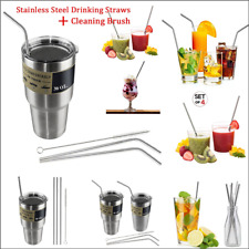 New 4PCS Stainless Steel Drinking Straws with Cleaning Brush For 30 Oz Tumbler