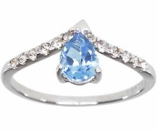 Swiss Blue Topaz Pear and White Topaz Gemstone Dainty Sterling Silver Ring