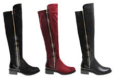 Womens Over The Knee PU Suede Boots Ladies Flat Low Block Heel Zip Stretch Shoes